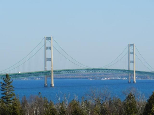 Mackinac Bridge and the Straits of Mackinac - credit Michigan Public Radio